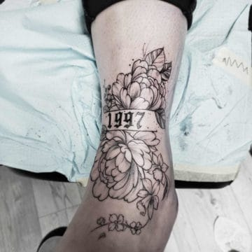 Black and Gray Tattoo Ankle Flower