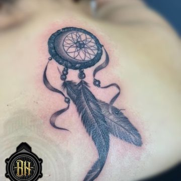 Black and Gray Tattoo Dreamcatcher