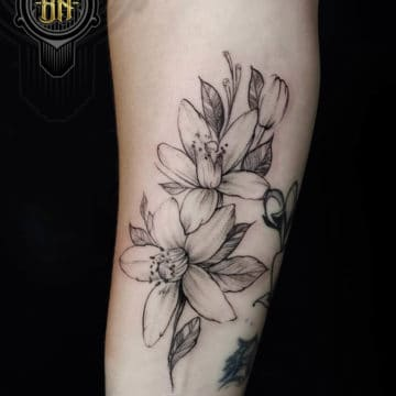 Black and Gray Tattoo Flowers Forearm