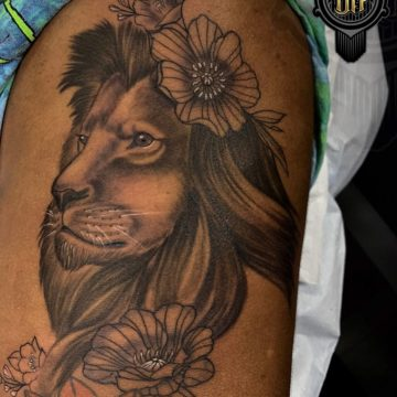 Black and Gray Tattoo Flowers Lion