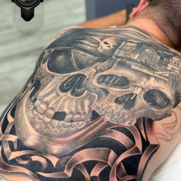 Black and Gray Tattoo Full Back Tattoo Skull
