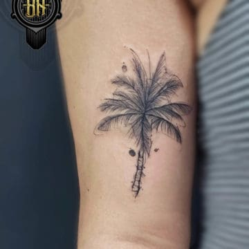 Black and Gray Tattoo Palm Tree