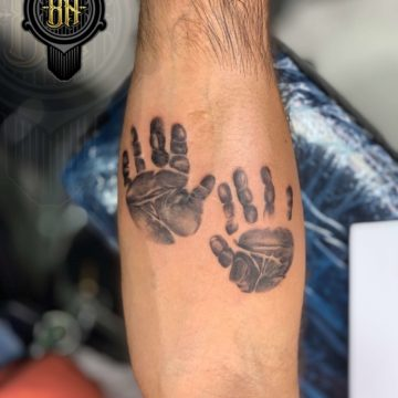 Black and Gray Tattoo Palms