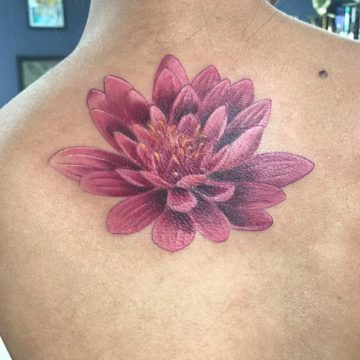 Color Work Tattoo Back Flower