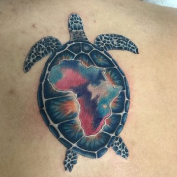 Color Work Tattoo Back Turtle