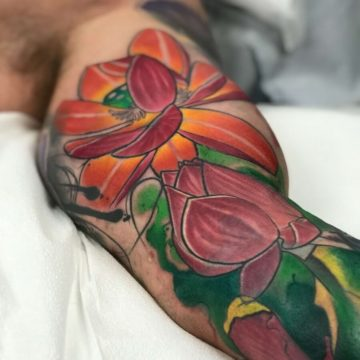 Color Work Tattoo Forearm Flower Tattoo