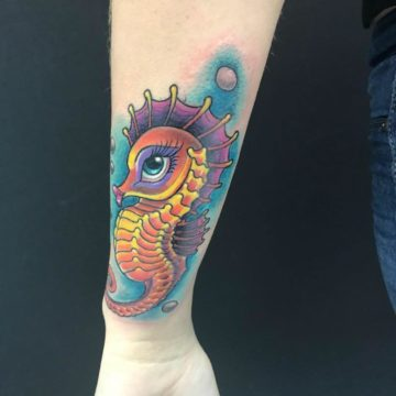 Color Work Tattoo Forearm Seahorse Tattoo