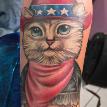 Color Work Tattoo Puss in Boots