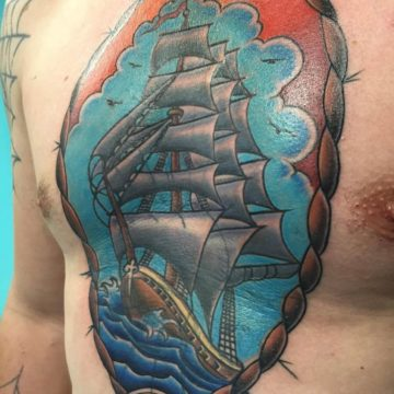 Color Work Tattoo Ship Chest