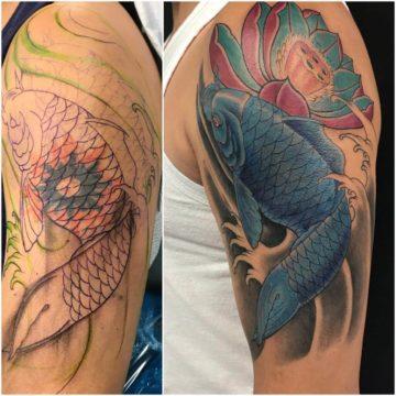 Cover Up Tattoo Koi Fish