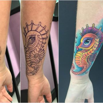 Cover Up Tattoo Seahorse