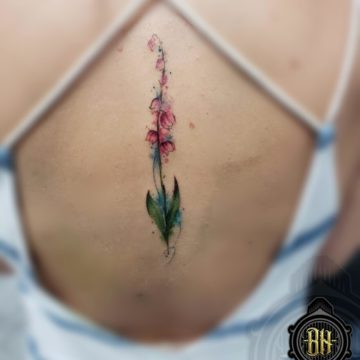 Water Color Back Flower Tattoo Logo