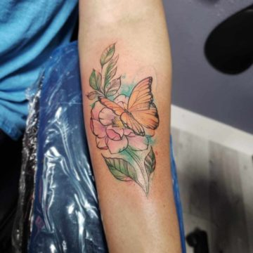 Water Color Forearm Flower Tattoo