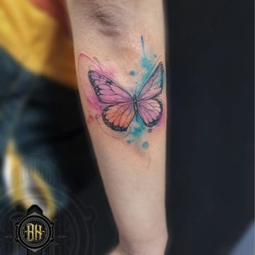 Water Color Padlock Flower Tattoo