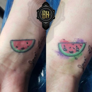 Water Color Wrist WaterMellon Tattoo